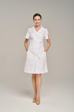 Двубортный халат медицинский DrNICE белый